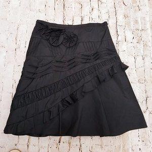 BCBGMAXAZRIA Black Lined Tulle Ruffle Flower Skirt